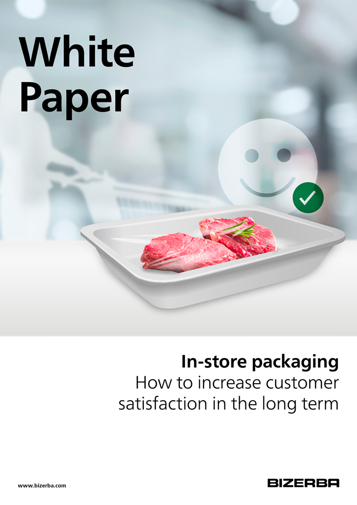 Bizerba Whitepaper Cover: In-store packaging - How to increase customer satisfaction in the long term